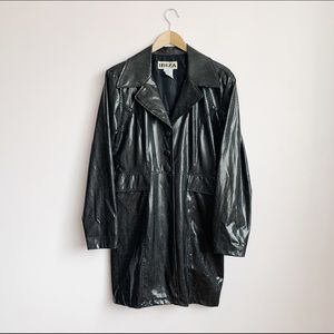 "black shiny ""snakeskin"" textured trench coat"